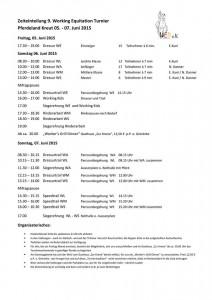 Zeiteinteilung 9. WE Turnier Pferdeland Kreut